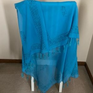 Accessories - Blue Shawl Wrap from the Mayan Riviera.